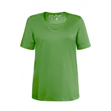 Ulla Popken Damen  T-Shirt, Zierbänder, Classic, V-Ausschnitt, hellgrün, Gr. 58/60, Mode in großen Größen