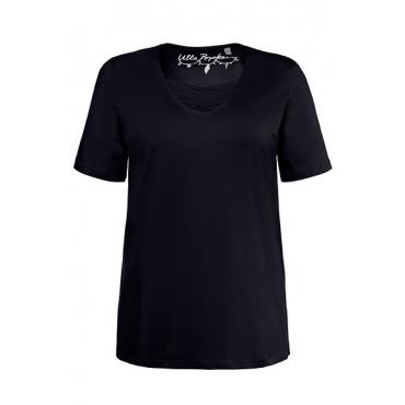 Ulla Popken Damen  T-Shirt, Zierbänder, Classic, V-Ausschnitt, marine, Gr. 58/60, Mode in großen Größen