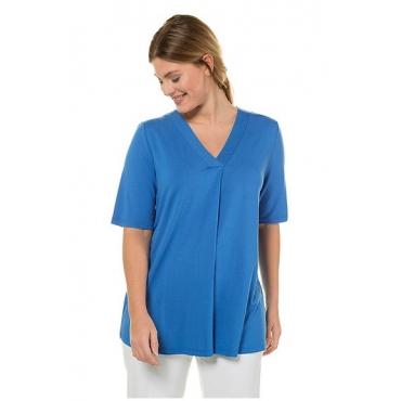 Ulla Popken Damen  T-Shirt, Zierfalte, A-Linie, V-Ausschnitt, selection, azur, Gr. 58/60, Mode in großen Größen