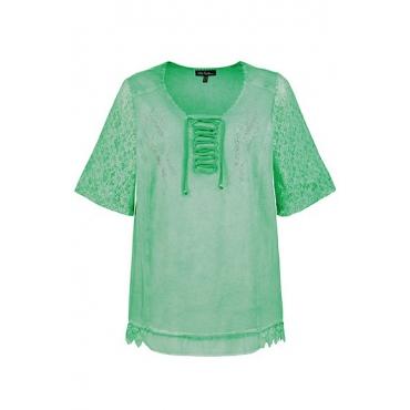 Ulla Popken Damen  T-Shirt, Zierschnürung, A-Linie, oil dyed, Spitzenärmel, grün, Gr. 58/60, Mode in großen Größen