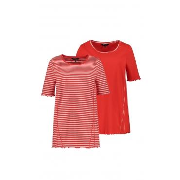 Ulla Popken T-Shirts Damen, marine/ marine-gestreift, Baumwolle, Mode in großen Größen