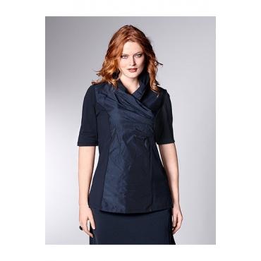Ulla Popken Damen  Taft-Shirt, Schalkragen, Halbarm, selection, mitternachtsblau, Gr. 58/60, Mode in großen Größen