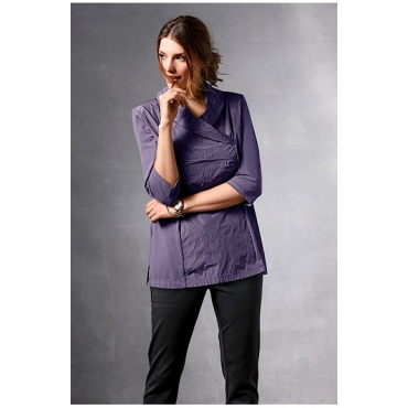 Ulla Popken Damen  Taft-Shirt, Schalkragen, Halbarm, selection, violett, Gr. 58/60, Mode in großen Größen