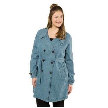 Ulla Popken Damen  Trenchcoat, doppelte Knopfleiste, Bindegürtel, Denim, blue denim, Gr. 54/56, Mode in großen Größen