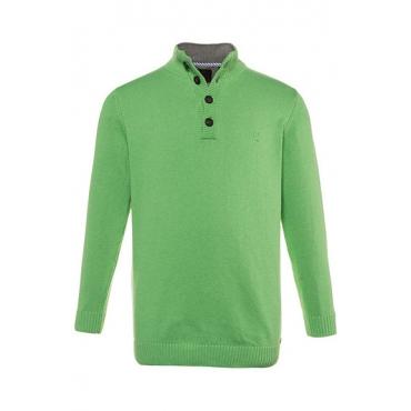 JP1880 Herren  Troyer, Pullover, Kragen mit Kontrast, hellgrün-melange, Gr. XXL, Mode in großen Größen