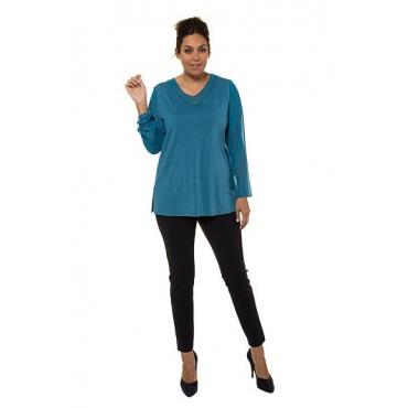 Ulla Popken Damen  V-Shirt, Perlen, A-Linie, Chiffon, Jersey, selection, dunkles petrol, Gr. 58/60, Mode in großen Größen