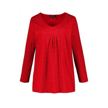 Ulla Popken Damen  V-Shirt, Sternenmuster, Glitzersteinchen, Langarm, rot, Gr. 58/60, Mode in großen Größen