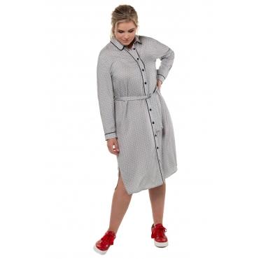 Ulla Popken Hemdblusenkleider Damen, weiß-schwarz, Mode in großen Größen
