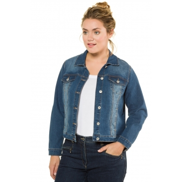 Ulla Popken Jeans-Jacke Damen, blue denim, Mode in großen Größen