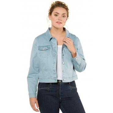 Ulla Popken Jeans-Jacke Damen, himmelblauer topas, Mode in großen Größen