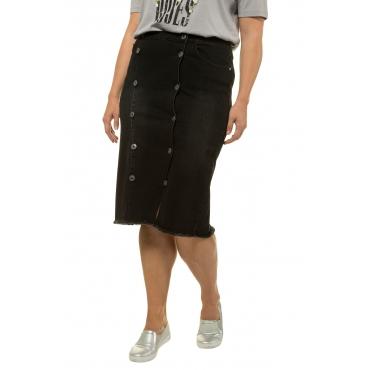 Ulla Popken Jeans Rock Damen, schwarz, Mode in großen Größen