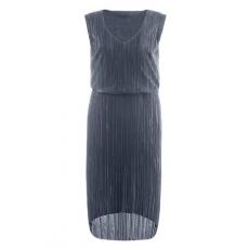 Ulla Popken  Kleid, Plissee, Taillen-Gummibund, V-Ausschnitt, hinten verlängert, Blau, Gr. 42/44,46/48,50/52,54/56
