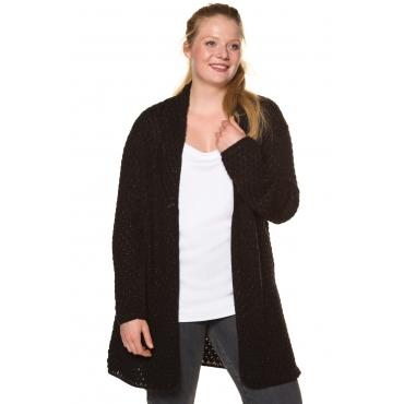Ulla Popken Long-Cardigan Damen, schwarz, Polyacryl, Mode in großen Größen