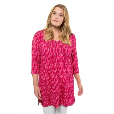 Ulla Popken Long-Shirt Damen, schwarz, Mode in großen Größen