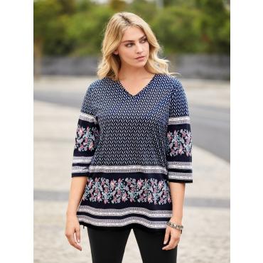 Ulla Popken Long-Shirt Damen, multicolor, Mode in großen Größen
