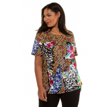 Ulla Popken  Long-Shirt Damen 58/60, multicolor, Mode in großen Größen