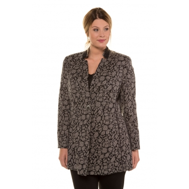 Ulla Popken  Longblazer Damen 48, schwarz, Baumwolle, Mode in großen Größen