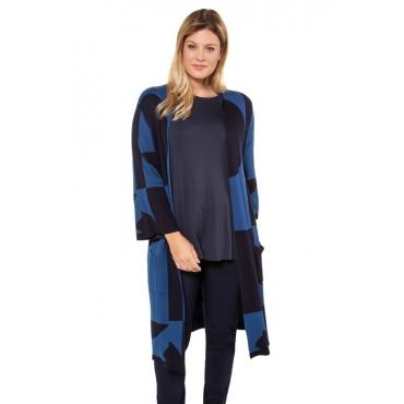 Ulla Popken Longjacke Damen, nachtblau, Viskose, Mode in großen Größen