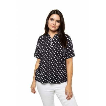Ulla Popken  Poloshirt Damen 58/60, marine, Baumwolle, Mode in großen Größen