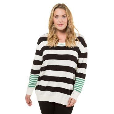 Ulla Popken  Pullover Damen Größe 58/60, schwarz-helles creme, Mode in großen Größen