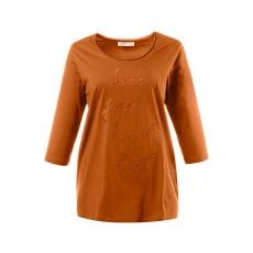 Ulla Popken  Shirt, Bio-Baumwolle, Stickerei-Motiv, runder Ausschnitt, 3/4-Ärmel, Typ Classic, große Größen, Orange, Gr. 42/44,46/48,50/52,54/56,58/60