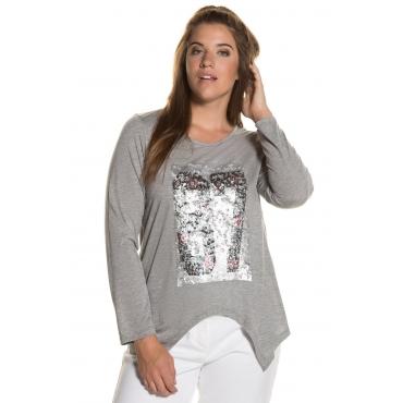 Ulla Popken  Shirt Damen Größe 50/52, hellgrau-melange, Mode in großen Größen