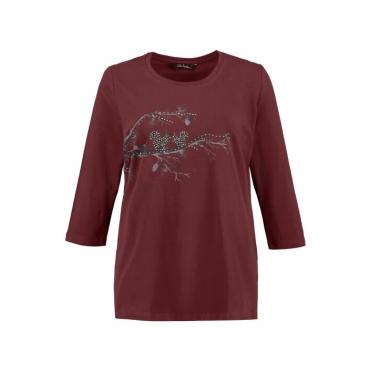 Ulla Popken Shirt Damen, portwein, Baumwolle, Mode in großen Größen