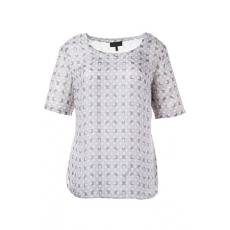 Ulla Popken  Shirt, Punkt- und Kästchenmuster, 100 % Seide, Grau, Gr. 42,44,46,48,50,52,54,56