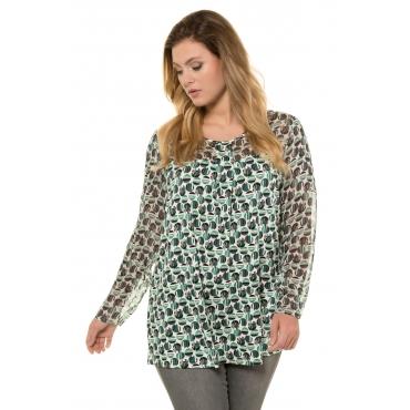 Ulla Popken Shirts Damen, mittelgrün gemustert, Mode in großen Größen