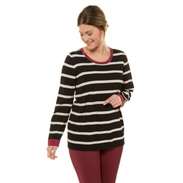 Ulla Popken Streifen-Pullover Damen, schwarz, Mode in großen Größen