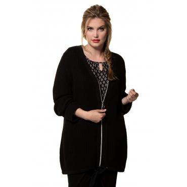 Ulla Popken Strickjacke Damen, schwarz, Mode in großen Größen