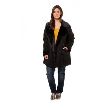 Ulla Popken Suedine-Jacke Damen, schwarz, Polyester, Mode in großen Größen