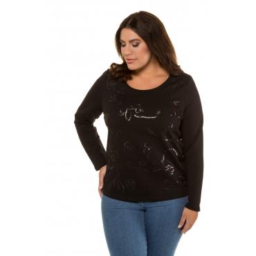 Ulla Popken  Sweat-Shirt Damen 58/60, schwarz, Mode in großen Größen