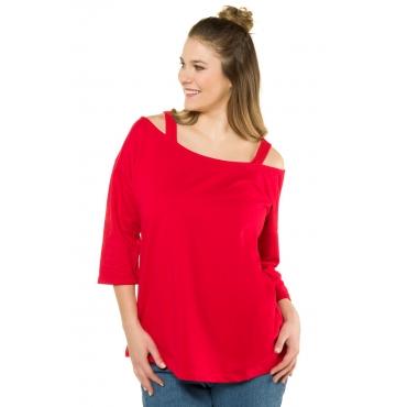 Ulla Popken  Sweatshirt Damen Größe 54/56, hell-tomatenrot, Mode in großen Größen