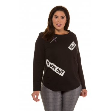 Ulla Popken  Sweatshirt Damen Größe 54/56, schwarz, Mode in großen Größen