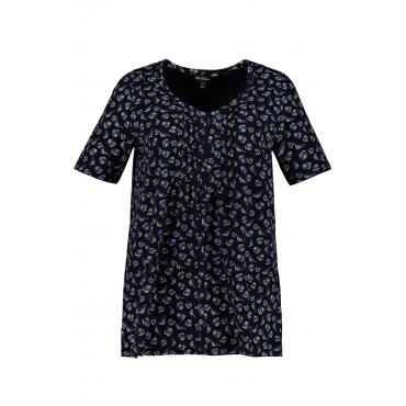 Ulla Popken  T-Shirt Damen 42/44, marine, Baumwolle, Mode in großen Größen