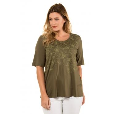 Ulla Popken  T-Shirt Damen Größe 58/60, oliv, Mode in großen Größen