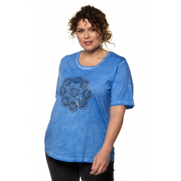 Ulla Popken T-Shirts Damen, meeresblau, Mode in großen Größen