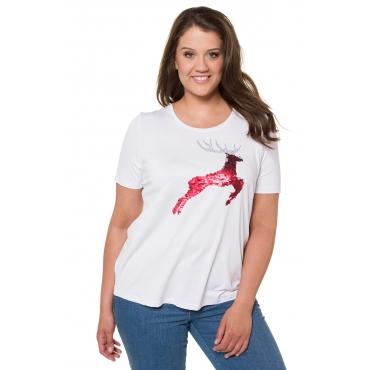 Ulla Popken T-Shirts Damen, weiß, Mode in großen Größen
