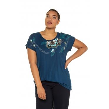Ulla Popken T-Shirts Damen, unterwasserblau, Mode in großen Größen